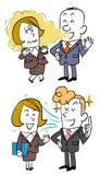 Conversação com empregados do sexo feminino, empregados do sexo masculino que tem o mau hálito e os empregados do sexo masculino  ilustração royalty free