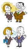 Conversação com empregados do sexo feminino, os empregados do sexo masculino mais idosos que tem o mau hálito, e os empregados do ilustração stock