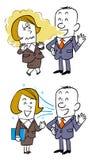 A conversação com empregados do sexo feminino, quando há um mau hálito ou uma respiração não é fétido ilustração royalty free