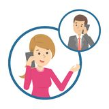 Conversação de telefone celular entre dois pessoas ilustração do vetor