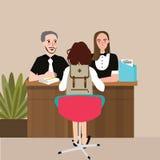 Conversação do estudante da escola com entrevista principal do professor ilustração do vetor