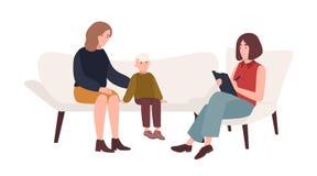 Conversação entre a mãe, a criança e psicólogo fêmea ou psicoterapia da família do psychotherapist, psychotherapeutic ilustração stock