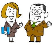 Conversação entre o chefe mais idoso e o empregado do sexo feminino ilustração royalty free