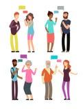 Conversação entre o pessoa da idade diferente, o gênero e a nacionalidade Homem e mulher que falam com vetor das bolhas do discur ilustração stock