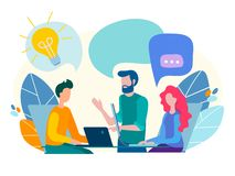 Conversação, uma comunicação, discussão no escritório ilustração royalty free