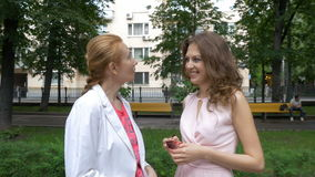 Conversa de dois amigos das mulheres no parque Um dia ensolarado do verão bonito vídeos de arquivo