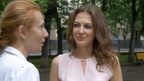 Conversa de dois amigos das mulheres no parque Um dia ensolarado do verão bonito Close-up filme