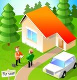 Conversa de dois homens sobre a casa ilustração royalty free