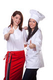 Conversa do cozinheiro e da empregada de mesa Fotos de Stock Royalty Free