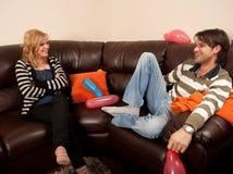 Conversa do menino e da menina Foto de Stock
