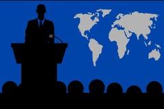 Conversa do pódio na frente da audiência ilustração royalty free