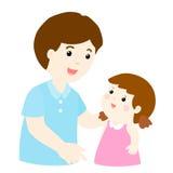 Conversa do paizinho a seus da filha desenhos animados delicadamente fotos de stock