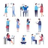 conversa dos povos Caráteres de conversa socializando do vetor da comunidade da discussão do negócio da Web em linha isolados ilustração stock