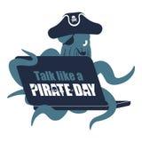 Conversa internacional como um dia do pirata Pirata e regaço da Web do polvo ilustração stock