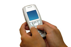 Conversa usando o telefone de pilha foto de stock