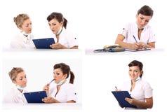 Conversación de dos doctores Imágenes de archivo libres de regalías