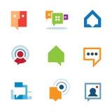 Conversación social personal de la comunidad sobre icono del logotipo de la charla del Internet Imagenes de archivo