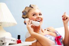 Conversación telefónica Imagen de archivo libre de regalías