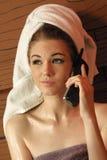 Conversación telefónica caliente Imagen de archivo libre de regalías