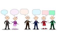 Conversación humana del palillo del negocio con la burbuja vacía de la charla Imagen de archivo libre de regalías