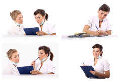 Conversação de dois doutores Imagens de Stock Royalty Free