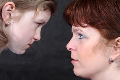 Conversation. Between mother and daughter - close up Stock Images