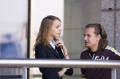 Conversation. Between man and woman stock photography