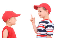Conversation. Children conversation - two brothers - 4 and 6 years old isolated on white Stock Images