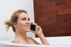 Conversation in bathtub Royalty Free Stock Image