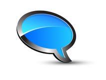 Conversation bleue de ballon Images libres de droits