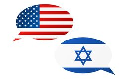 Conversation bubbles between USA and Israel. Conversation bubbles between United States of America and Israel - graphic royalty free illustration