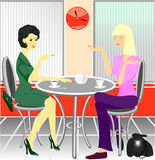 Conversation in cafe. Royalty Free Stock Photo