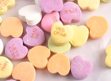 Conversation Candy hearts. Pastel coloured valentines conversation candy hearts stock photo