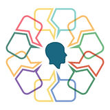Conversation concept. Colorful dialog speech bubbles with human head stock illustration