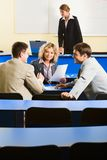 Conversation before conference stock images