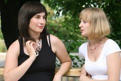 Conversation de la blonde et du brunette Photographie stock