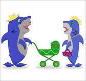 Conversation de requins illustration de vecteur