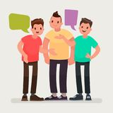 Conversation of friends. Discussion of news, communication on different topics. The men are talking stock illustration
