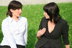 Conversation of girlfriends Stock Photo