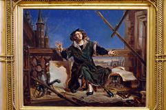 Conversation with God, sketch by Jan Matejko, Polish painter. Copernicus or a Conversation with God 1871 sketches for large canvases at the Jan Matejko House in Royalty Free Stock Photos