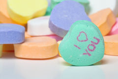 Conversation Hearts. Valentines day candy. Concept of love stock photo