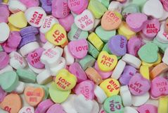 Conversation Hearts. Candy hearts on Valentine's Day Royalty Free Stock Photo