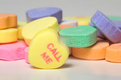 Conversation Hearts - Call Me. Conversation hearts Valentines day candy. Concept of love royalty free stock photos