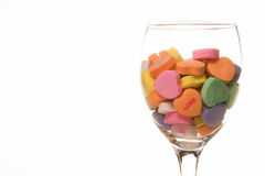 Conversation hearts in glass Stock Photo
