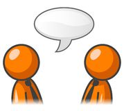 Conversation Illustration. An illustration of two simple orange characters having a conversation, isolated on a white background royalty free illustration