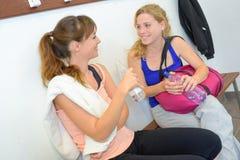 Conversation in locker room Royalty Free Stock Photography