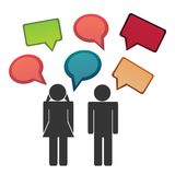 Conversation between man and woman. Vector silhouettes with speech bubbles Royalty Free Stock Photos