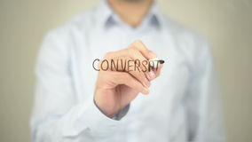 Conversation Marketing, Man writing on transparent screen. Man writing on transparent screen stock video footage