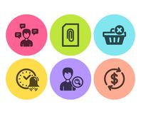 Conversation messages, Search people and Alarm bell icons set. Vector. Conversation messages, Search people and Alarm bell icons simple set. Attachment, Delete vector illustration