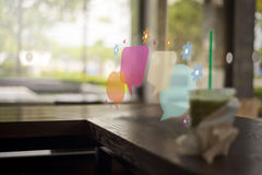 Conversation over a cold drink stock photos